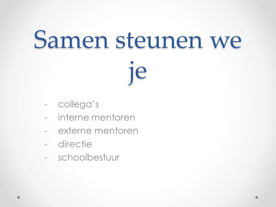 Samen steunen we je -collega's -interne mentoren -externe mentoren -directie -schoolbestuur