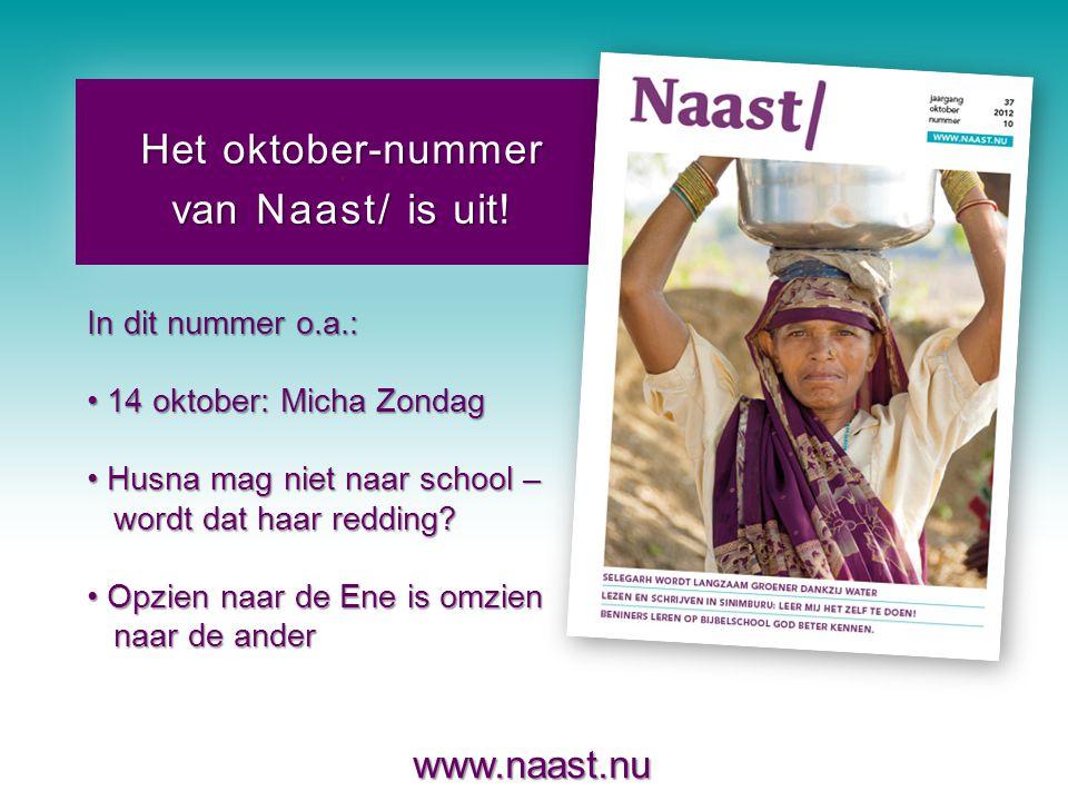 www.naast.nu..Het oktober-nummer van Naast/ is uit.