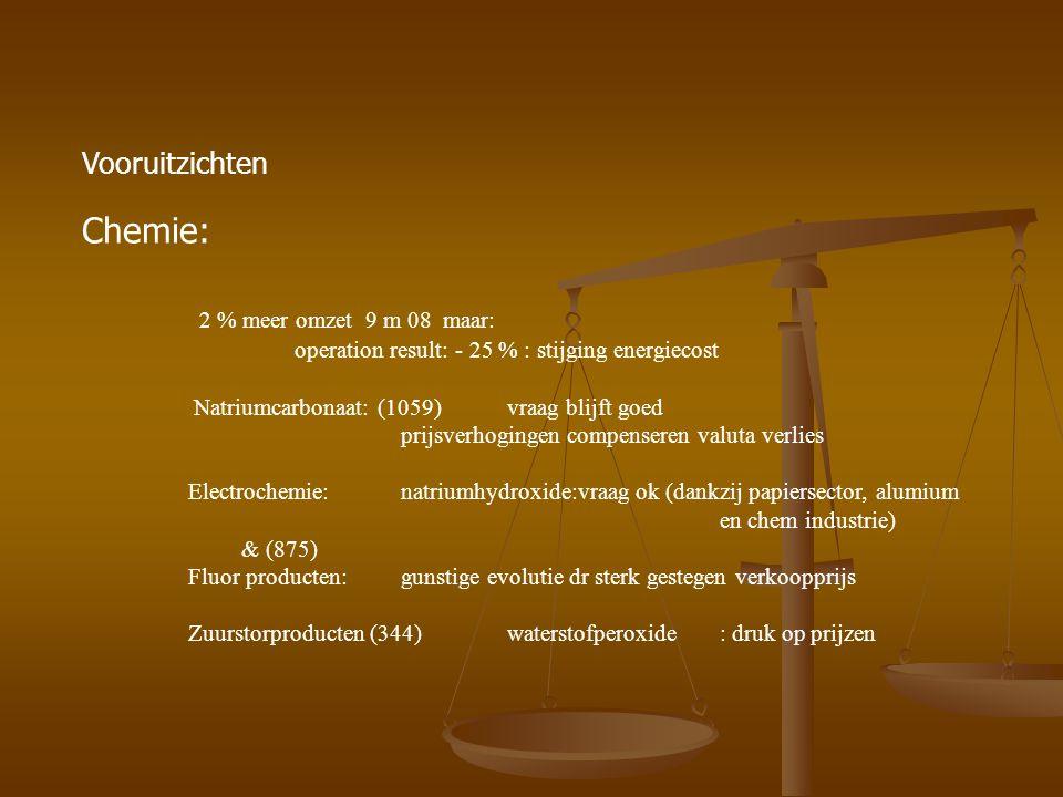 Vooruitzichten Kunststoffen: speciale polymeren ( 1172): - 10 % : ongunstige wisselkoersen Vinylproducten: (1770)+ 5 % : vraag blijft relatief goed maar econ crisis kan vraag aantasten