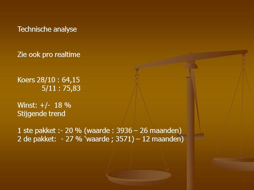 Technische analyse Zie ook pro realtime Koers 28/10 : 64,15 5/11 : 75,83 Winst: +/- 18 % Stijgende trend 1 ste pakket :- 20 % (waarde : 3936 – 26 maanden) 2 de pakket: - 27 % 'waarde ; 3571) – 12 maanden)