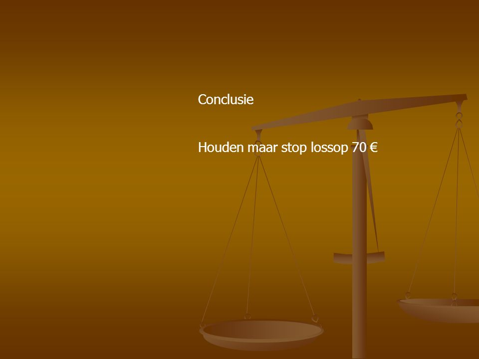 Conclusie Houden maar stop lossop 70 €
