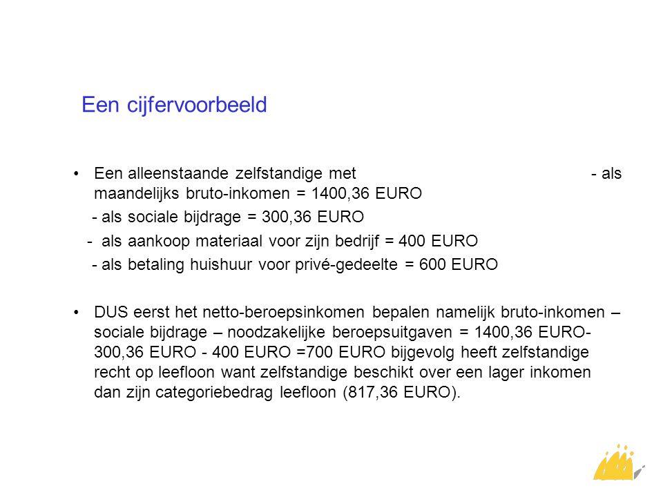 Een cijfervoorbeeld Een alleenstaande zelfstandige met - als maandelijks bruto-inkomen = 1400,36 EURO - als sociale bijdrage = 300,36 EURO - als aanko
