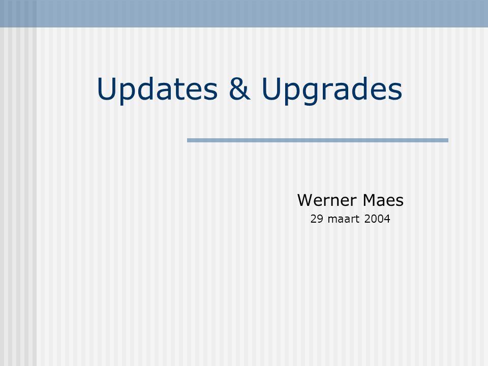 Soorten Upgrade besturingssysteem Kernel upgrade Updates kritische pakketten: samba – webmin Updates andere pakketten Elke upgrade – update wordt eerst uitgetest op een bestaande linsam configuratie in PCLAB !!