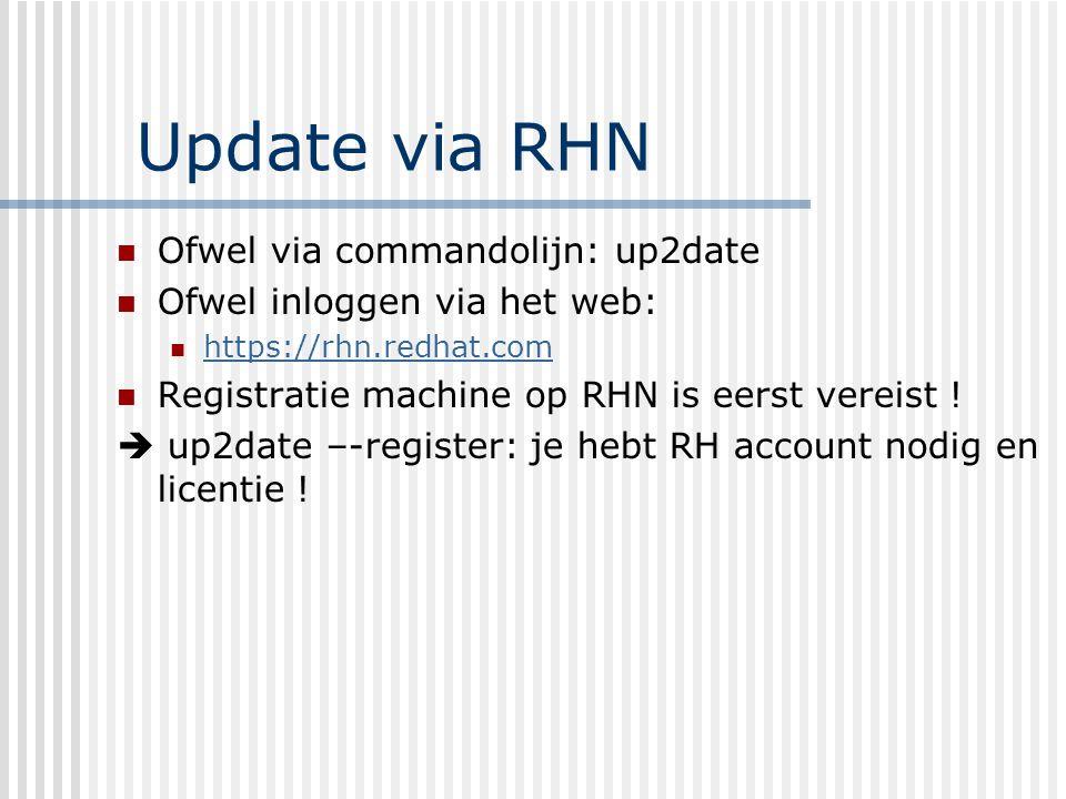 Registratie Up2date --register Je moet aanloggen met redhat account + paswoord Informatie over machine wordt doorgestuurd: type server, geinstalleerde pakketten, dns-naam,...