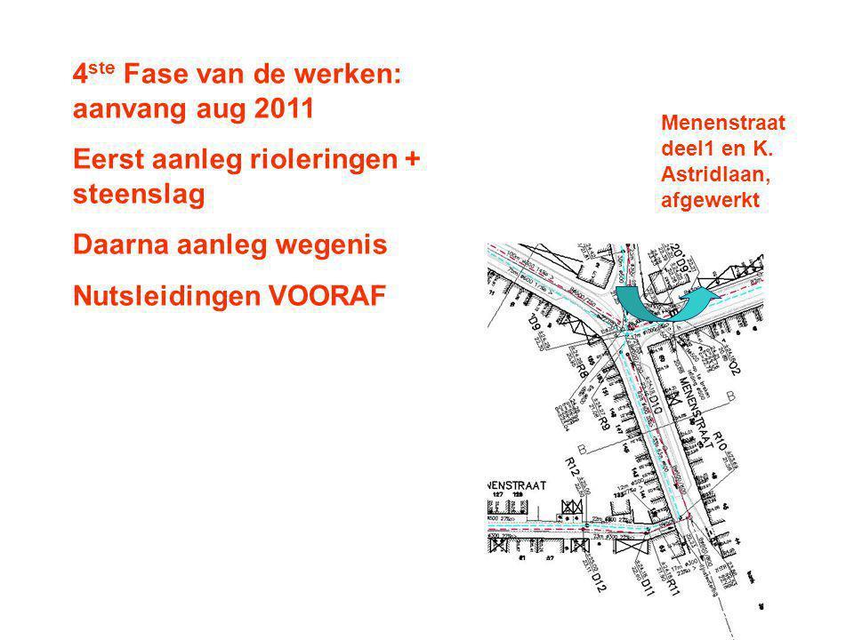 4 ste Fase van de werken: aanvang aug 2011 Eerst aanleg rioleringen + steenslag Daarna aanleg wegenis Nutsleidingen VOORAF Menenstraat deel1 en K.