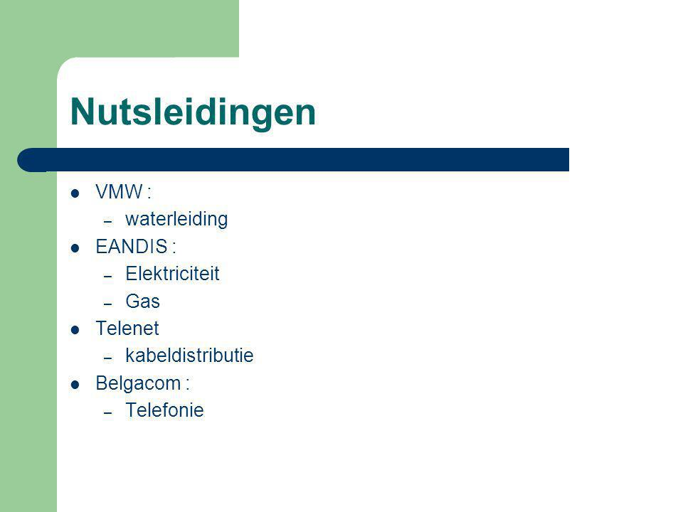 Nutsleidingen VMW : – waterleiding EANDIS : – Elektriciteit – Gas Telenet – kabeldistributie Belgacom : – Telefonie
