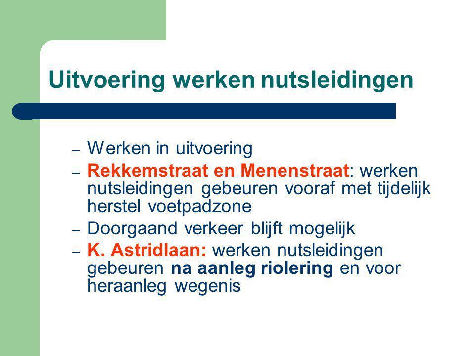 Uitvoering werken nutsleidingen – Werken in uitvoering – Rekkemstraat en Menenstraat: werken nutsleidingen gebeuren vooraf met tijdelijk herstel voetpadzone – Doorgaand verkeer blijft mogelijk – K.