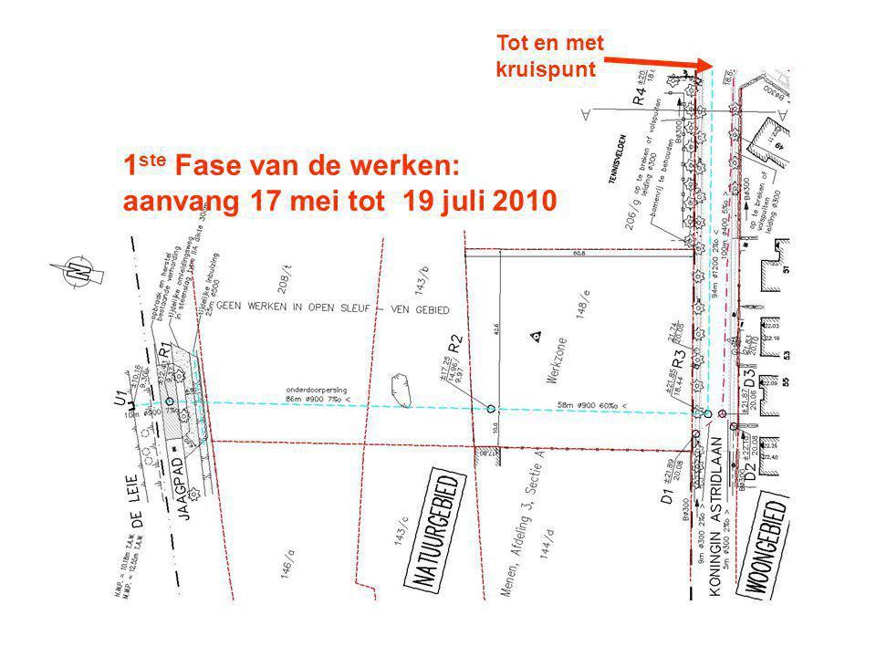 1 ste Fase van de werken: aanvang 17 mei tot 19 juli 2010 Tot en met kruispunt