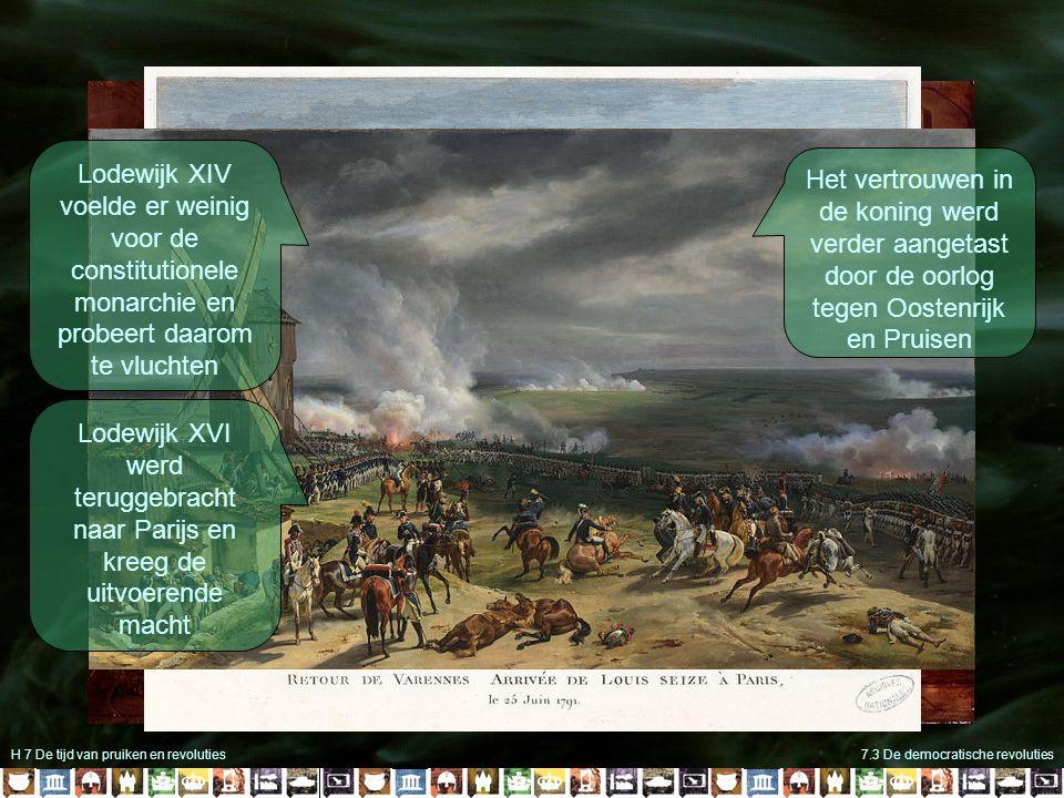 H 7 De tijd van pruiken en revoluties7.3 De democratische revoluties Lodewijk XIV voelde er weinig voor de constitutionele monarchie en probeert daarom te vluchten Lodewijk XVI werd teruggebracht naar Parijs en kreeg de uitvoerende macht Het vertrouwen in de koning werd verder aangetast door de oorlog tegen Oostenrijk en Pruisen