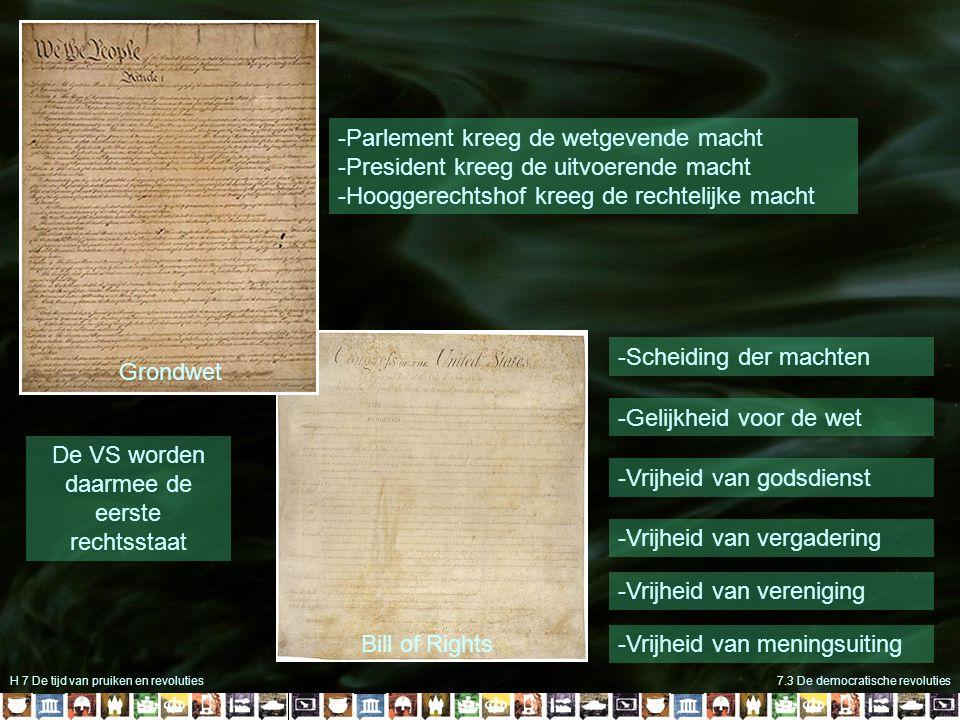 H 7 De tijd van pruiken en revoluties7.3 De democratische revoluties Bill of Rights -Scheiding der machten -Gelijkheid voor de wet -Vrijheid van godsd