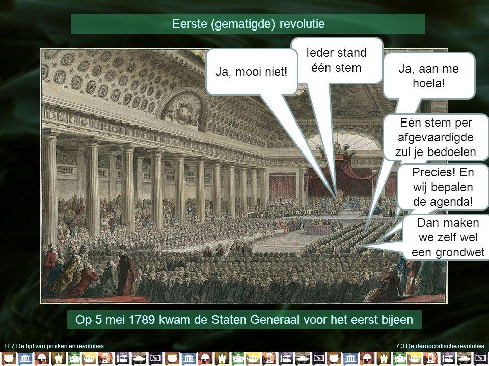 H 7 De tijd van pruiken en revoluties7.3 De democratische revoluties Op 5 mei 1789 kwam de Staten Generaal voor het eerst bijeen Ieder stand één stem Ja, aan me hoela.
