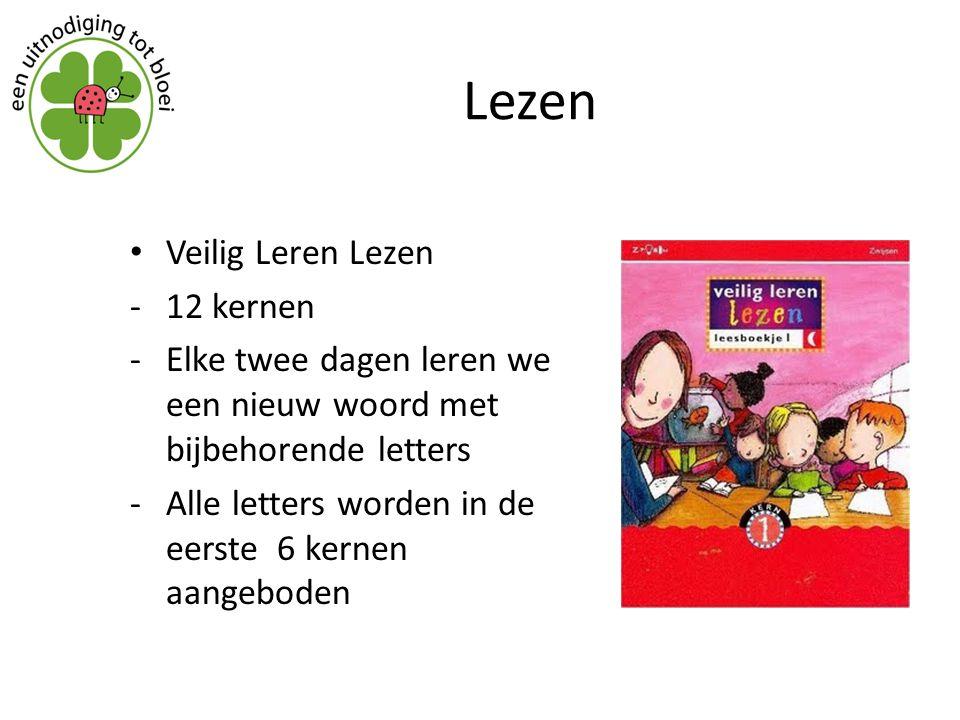 Lezen Veilig Leren Lezen -12 kernen -Elke twee dagen leren we een nieuw woord met bijbehorende letters -Alle letters worden in de eerste 6 kernen aang