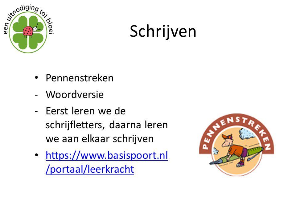 Schrijven Pennenstreken -Woordversie -Eerst leren we de schrijfletters, daarna leren we aan elkaar schrijven https://www.basispoort.nl /portaal/leerkr