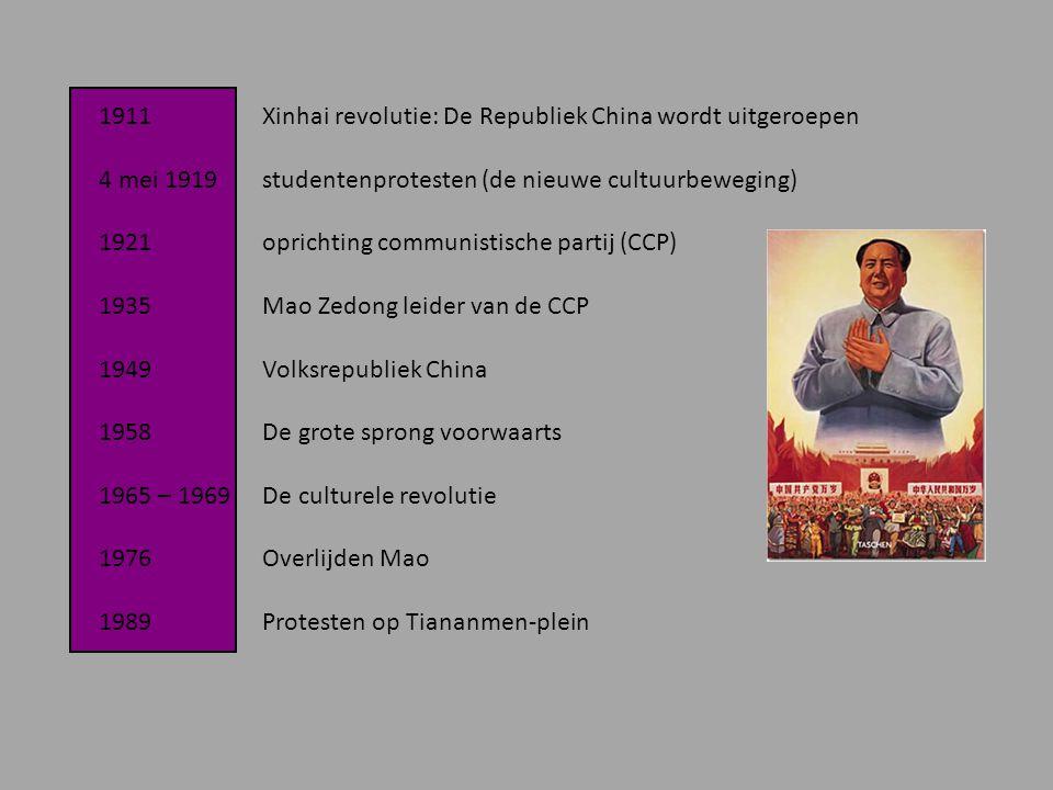 1911 Xinhai revolutie: De Republiek China wordt uitgeroepen 4 mei 1919 studentenprotesten (de nieuwe cultuurbeweging) 1921 oprichting communistische p
