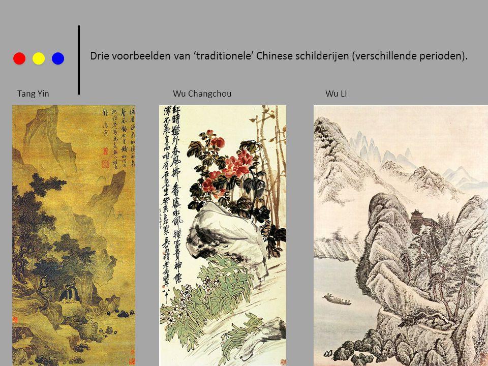 Drie voorbeelden van 'traditionele' Chinese schilderijen (verschillende perioden). Tang YinWu LIWu Changchou