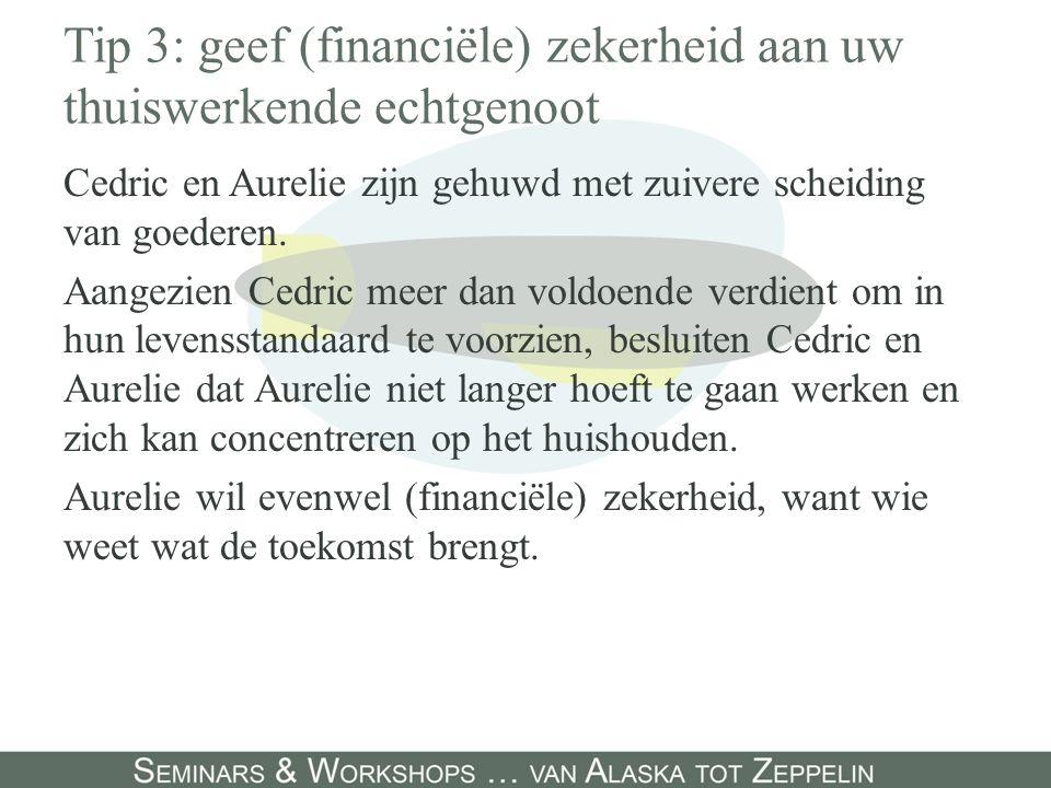 Tip 3: geef (financiële) zekerheid aan uw thuiswerkende echtgenoot Cedric en Aurelie zijn gehuwd met zuivere scheiding van goederen. Aangezien Cedric
