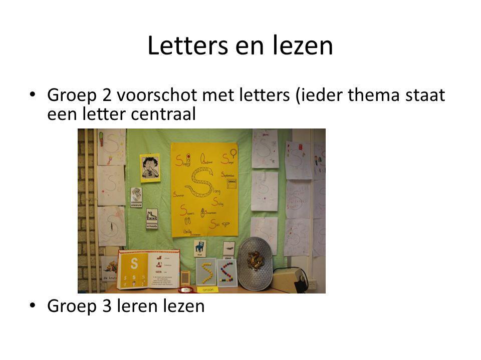 Letters en lezen Groep 2 voorschot met letters (ieder thema staat een letter centraal Groep 3 leren lezen