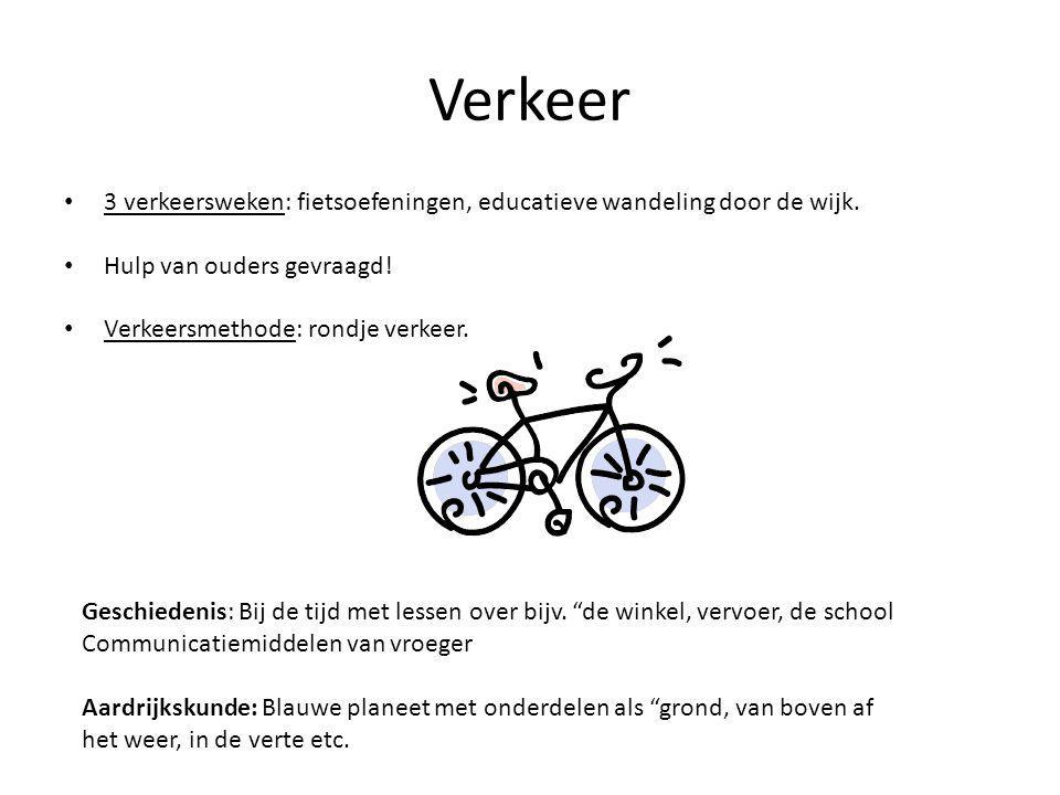 Verkeer 3 verkeersweken: fietsoefeningen, educatieve wandeling door de wijk.
