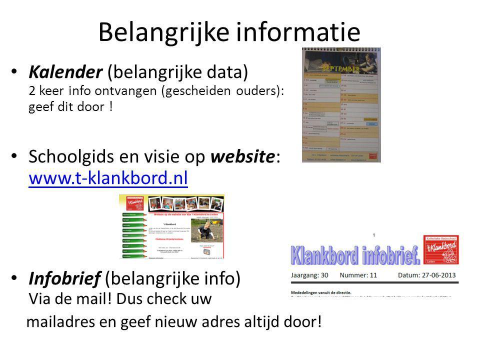 Belangrijke informatie Kalender (belangrijke data) 2 keer info ontvangen (gescheiden ouders): geef dit door .