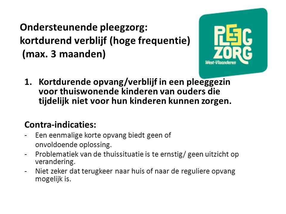 Ondersteunende pleegzorg: kortdurend verblijf (hoge frequentie) (max. 3 maanden) 1.Kortdurende opvang/verblijf in een pleeggezin voor thuiswonende kin