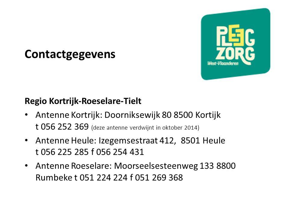 Contactgegevens Regio Kortrijk-Roeselare-Tielt Antenne Kortrijk: Doorniksewijk 80 8500 Kortijk t 056 252 369 (deze antenne verdwijnt in oktober 2014)