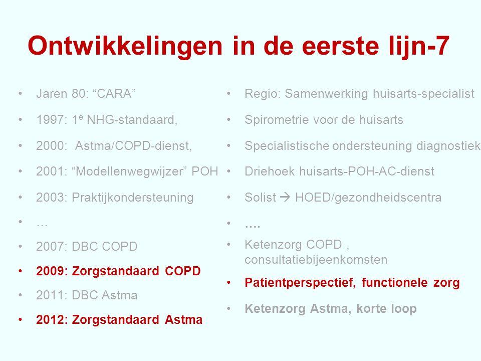 Ontwikkelingen in de eerste lijn-7 Jaren 80: CARA 1997: 1 e NHG-standaard, 2000: Astma/COPD-dienst, 2001: Modellenwegwijzer POH 2003: Praktijkondersteuning … 2007: DBC COPD 2009: Zorgstandaard COPD 2011: DBC Astma 2012: Zorgstandaard Astma Regio: Samenwerking huisarts-specialist Spirometrie voor de huisarts Specialistische ondersteuning diagnostiek Driehoek huisarts-POH-AC-dienst Solist  HOED/gezondheidscentra ….