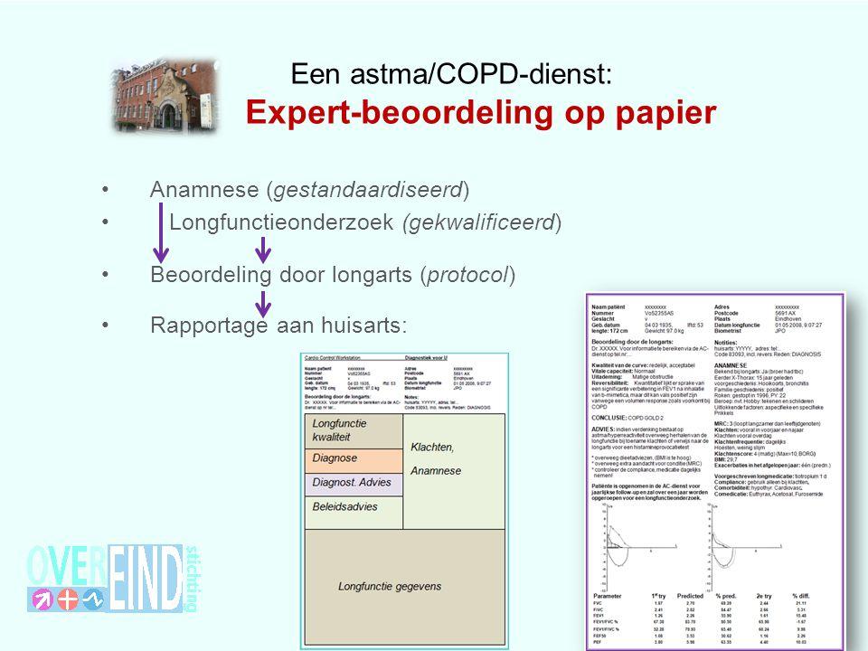 Een astma/COPD-dienst: Expert-beoordeling op papier Anamnese (gestandaardiseerd) Longfunctieonderzoek (gekwalificeerd) Beoordeling door longarts (protocol) Rapportage aan huisarts: