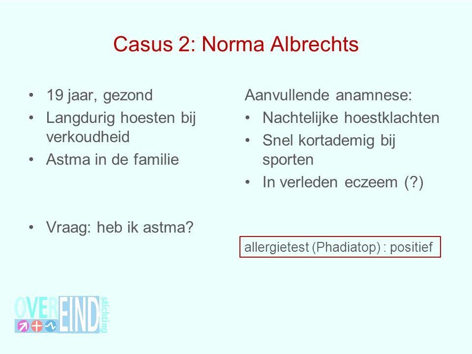 Casus 2: Norma Albrechts 19 jaar, gezond Langdurig hoesten bij verkoudheid Astma in de familie Vraag: heb ik astma? Aanvullende anamnese: Nachtelijke