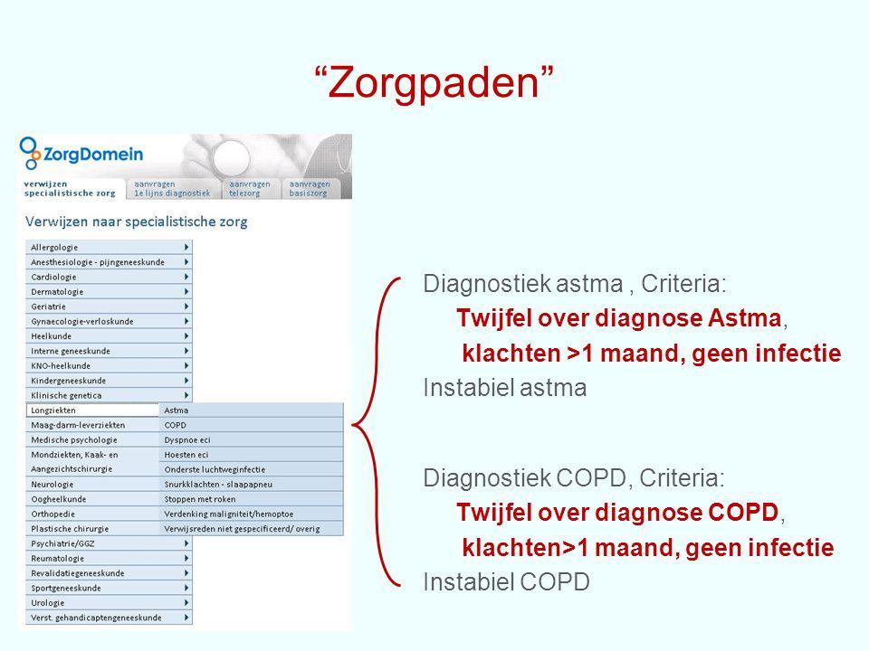 """""""Zorgpaden"""" Diagnostiek astma, Criteria: Twijfel over diagnose Astma, klachten >1 maand, geen infectie Instabiel astma Diagnostiek COPD, Criteria: Twi"""