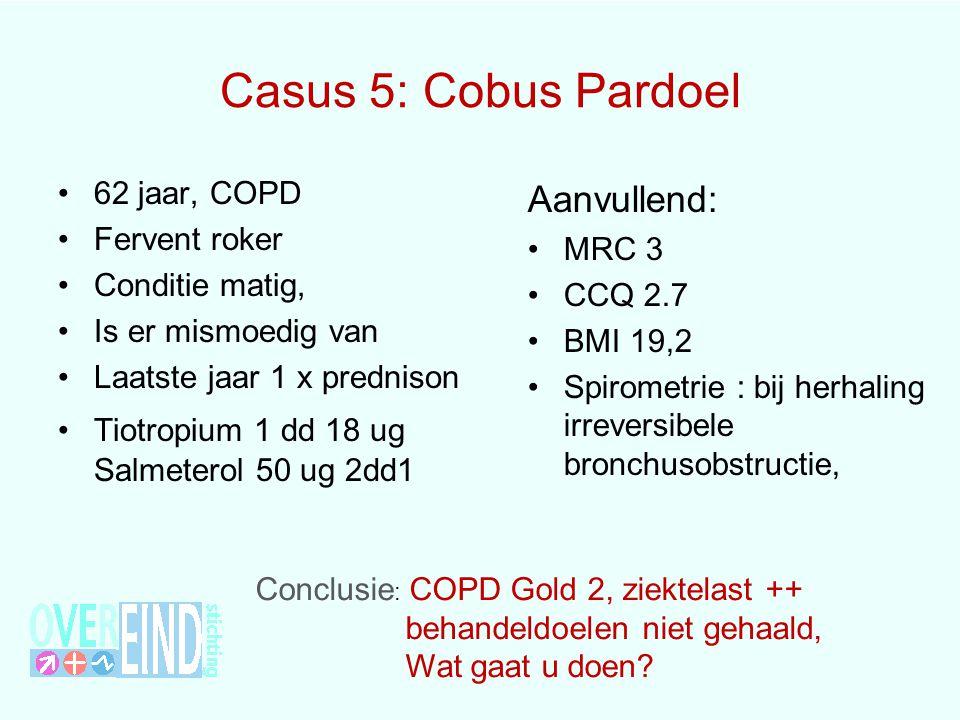 Casus 5: Cobus Pardoel 62 jaar, COPD Fervent roker Conditie matig, Is er mismoedig van Laatste jaar 1 x prednison Tiotropium 1 dd 18 ug Salmeterol 50