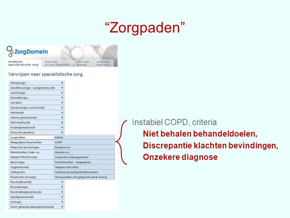 """""""Zorgpaden"""" Instabiel COPD, criteria Niet behalen behandeldoelen, Discrepantie klachten bevindingen, Onzekere diagnose"""