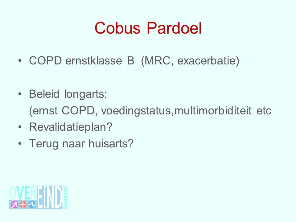 Cobus Pardoel COPD ernstklasse B (MRC, exacerbatie) Beleid longarts: (ernst COPD, voedingstatus,multimorbiditeit etc Revalidatieplan? Terug naar huisa