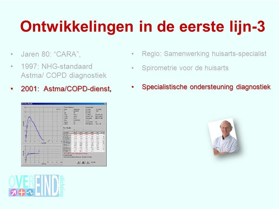 Van longfunctie naar astma/COPD-dienst Huisarts: expert op gebied klachten, longfunctiemeten is lastig vanwege: apparatuur, aanschaf, onderhoud, tijd uitvoeren van de longfunctie interpreteren van de resultaten Longarts: expert op het gebied van longfunctie, vertalen naar een diagnose kan mits inzicht in klachten zicht op medicatie, inhalatietechniek zicht op andere aandoeningen etc Astma/COPD dienst Longfunctie lab