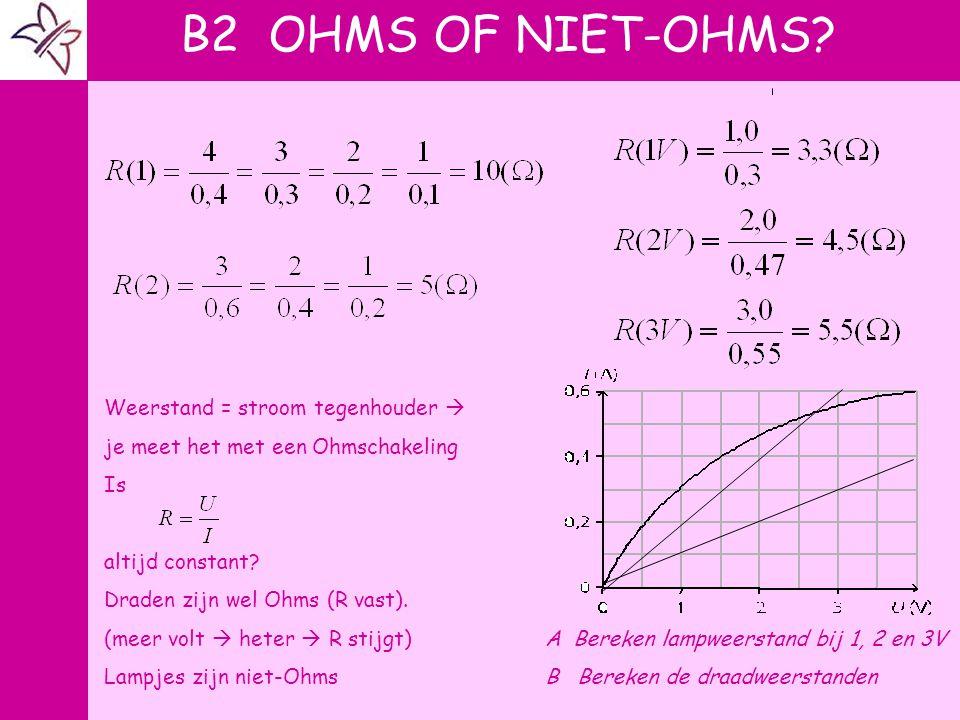 A V Weerstand = stroom tegenhouder  je meet het met een Ohmschakeling Is altijd constant? Draden zijn wel Ohms (R vast). (meer volt  heter  R stijg