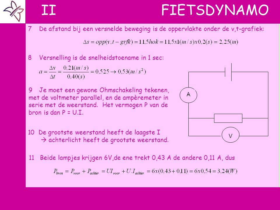 d II FIETSDYNAMO 7De afstand bij een versnelde beweging is de oppervlakte onder de v,t-grafiek: 8Versnelling is de snelheidstoename in 1 sec: 9Je moet