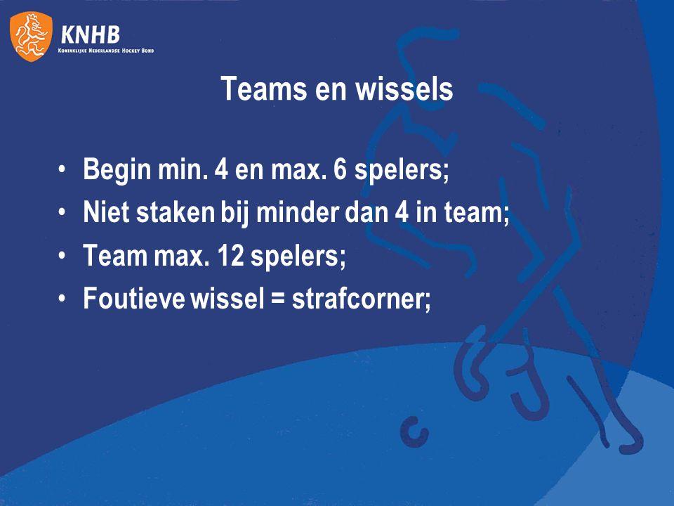 Teams en wissels Begin min. 4 en max. 6 spelers; Niet staken bij minder dan 4 in team; Team max. 12 spelers; Foutieve wissel = strafcorner;