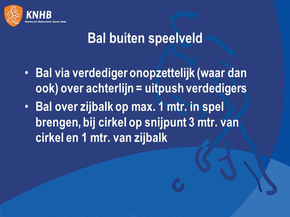 Bal buiten speelveld Bal via verdediger onopzettelijk (waar dan ook) over achterlijn = uitpush verdedigers Bal over zijbalk op max. 1 mtr. in spel bre