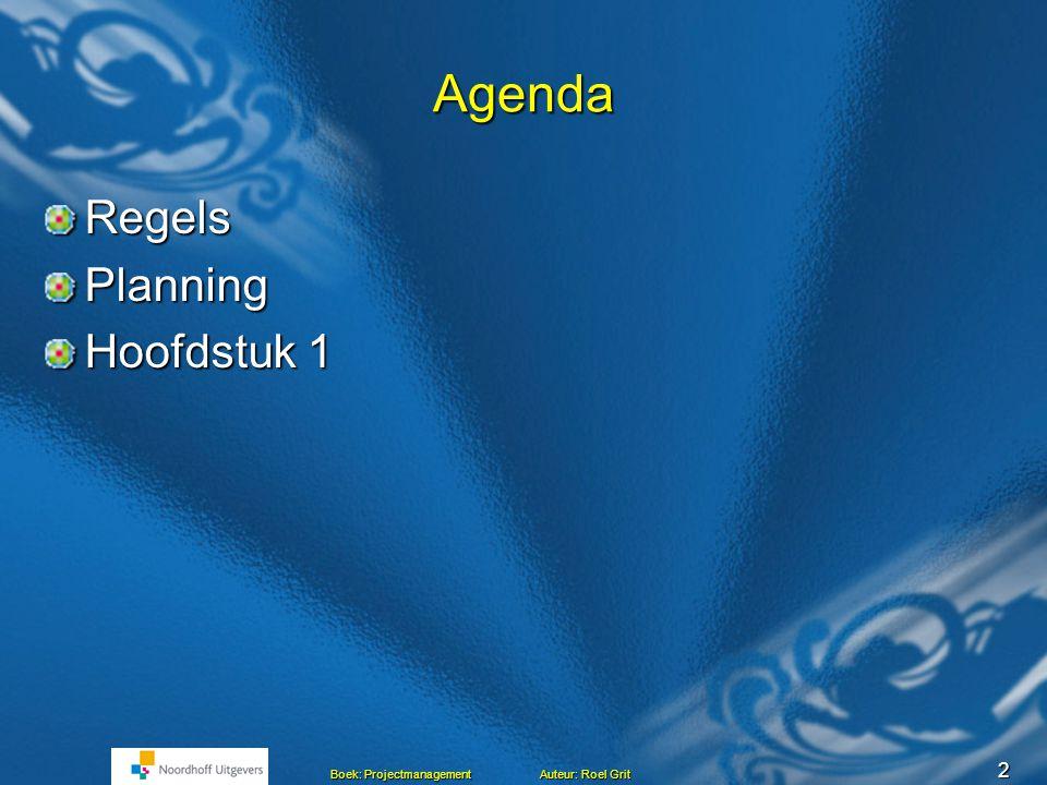 52 Boek: Projectmanagement Auteur: Roel Grit Agenda Bespreken vragen 2.1 tot en met 2.19 Presentaties hoofdstuk 2 Huiswerk volgende week Einde les