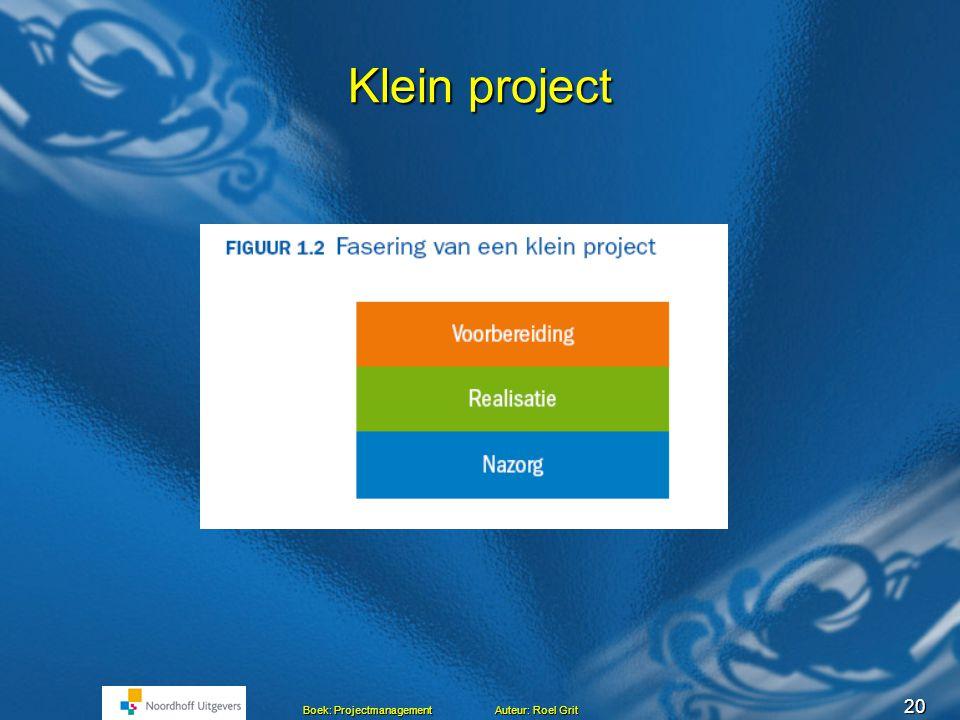 19 Boek: Projectmanagement Auteur: Roel Grit Typen projecten Voorbeelden bouwen brug, aanleg van een spoorlijn, aanleg computernetwerk aanpassen werkp