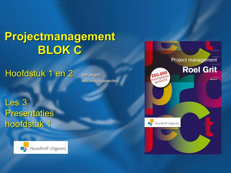 26 Boek: Projectmanagement Auteur: Roel Grit Stellingen Hoofdstuk 1 Projectmatig werken is een modegrill en zal wel weer overgaan Projectmatig werken