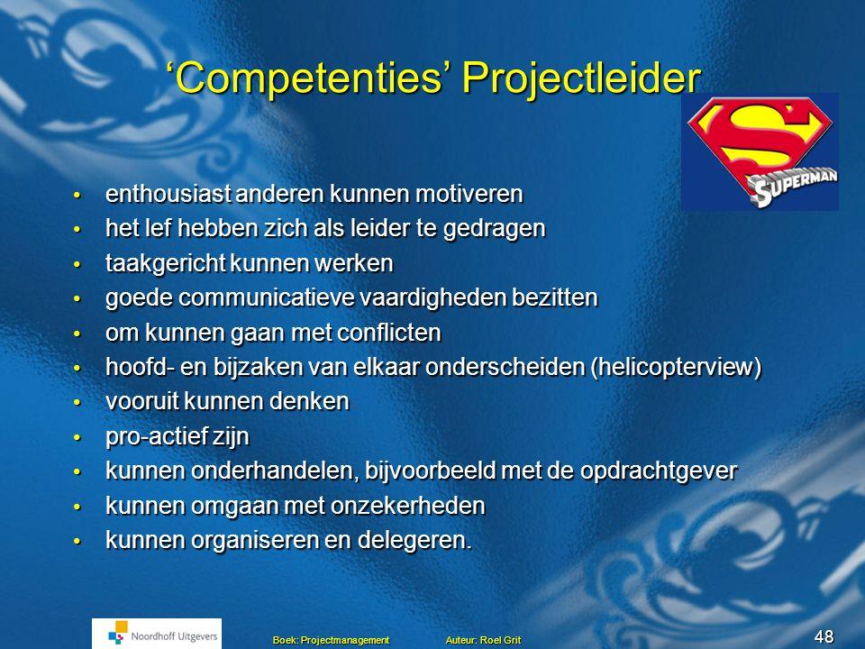 47 Boek: Projectmanagement Auteur: Roel Grit Competentie Een competentie is de combinatie van  kennis  vaardigheden  houding  gedrag die nodig is