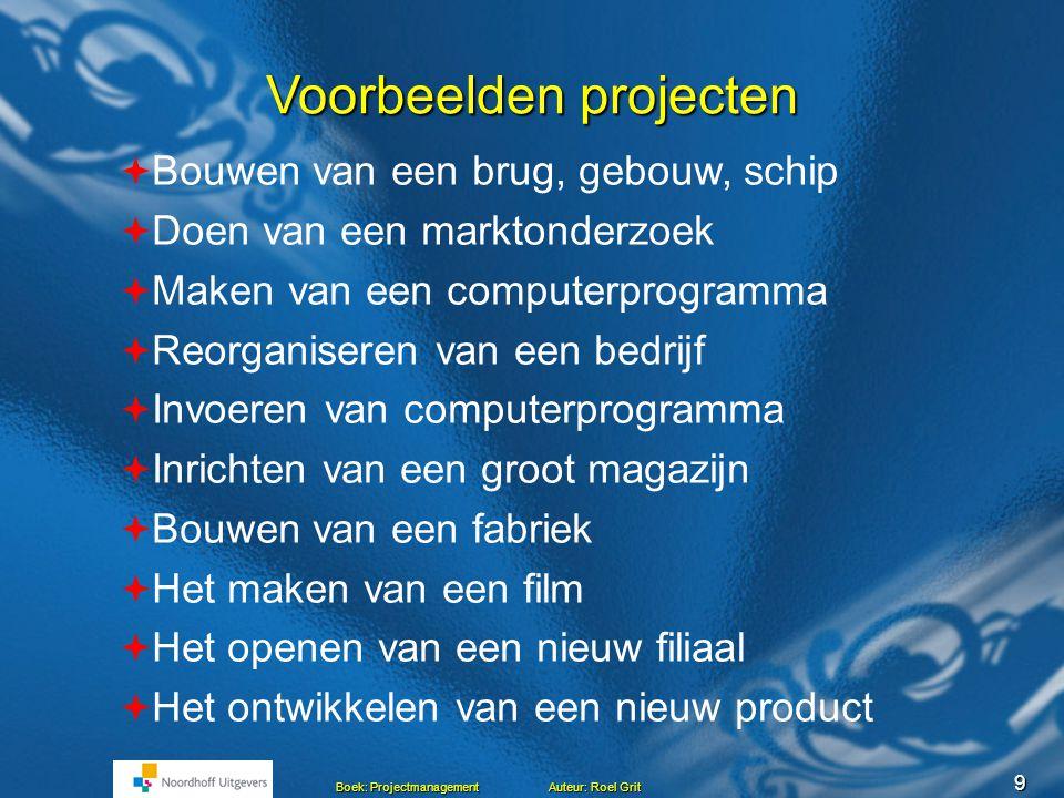 8 Boek: Projectmanagement Auteur: Roel Grit Hoofdstuk 1 Het project 1. Soorten werkzaamheden 2. Voorbeelden van projecten 3. Wat is een project? 4. Va