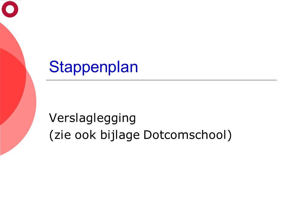 Stappenplan Verslaglegging (zie ook bijlage Dotcomschool)
