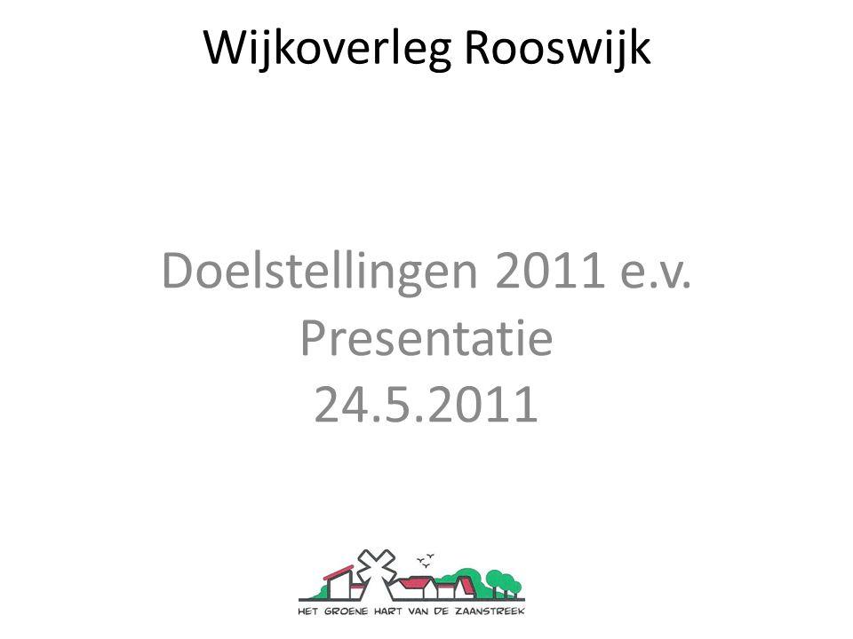 Wijkoverleg Rooswijk Doelstellingen 2011 e.v. Presentatie 24.5.2011