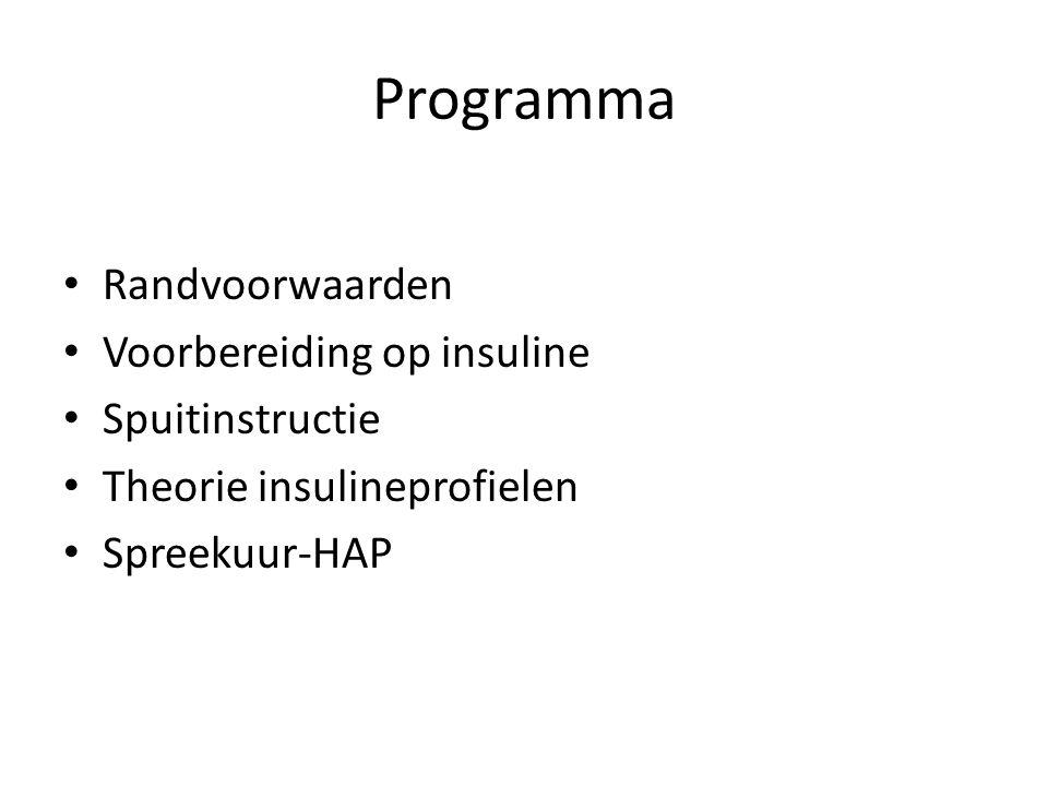 Programma Randvoorwaarden Voorbereiding op insuline Spuitinstructie Theorie insulineprofielen Spreekuur-HAP