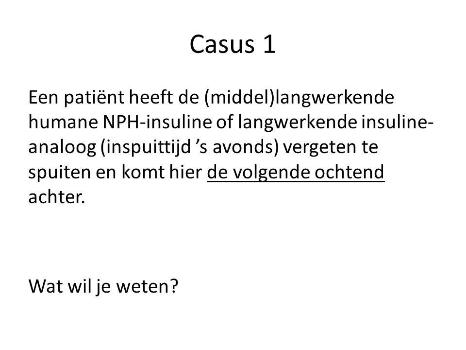 Casus 1 Een patiënt heeft de (middel)langwerkende humane NPH-insuline of langwerkende insuline- analoog (inspuittijd 's avonds) vergeten te spuiten en