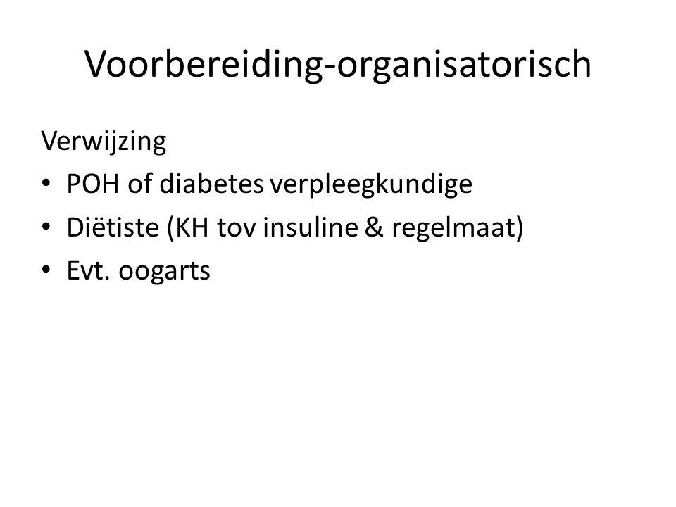 Voorbereiding-organisatorisch Verwijzing POH of diabetes verpleegkundige Diëtiste (KH tov insuline & regelmaat) Evt. oogarts