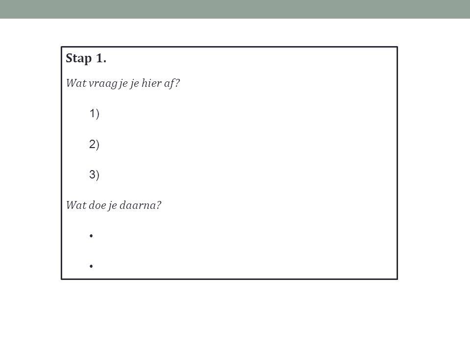 Stap 1. Wat vraag je je hier af? 1) 2) 3) Wat doe je daarna?