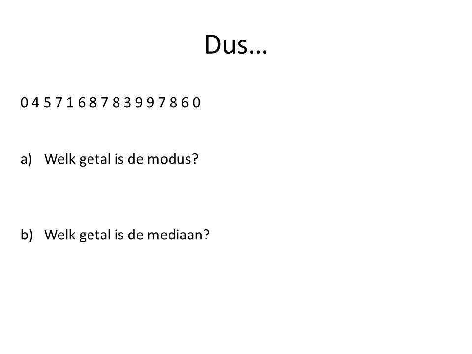 Dus… 0 4 5 7 1 6 8 7 8 3 9 9 7 8 6 0 a)Welk getal is de modus? b)Welk getal is de mediaan?