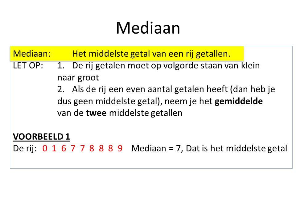 Mediaan Mediaan:Het middelste getal van een rij getallen. LET OP:1.De rij getalen moet op volgorde staan van klein naar groot 2.Als de rij een even aa